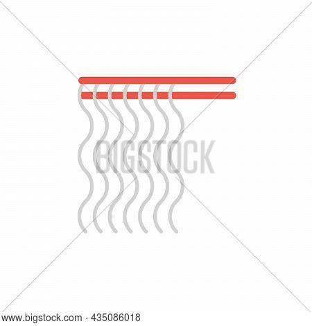 Red Chopsticks Holding Glass Noodles Vector Icon. Noodles On Chopsticks Illustration For Restaurant
