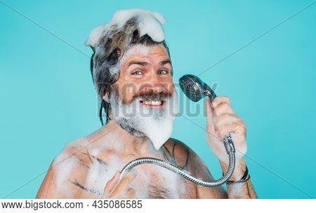 Shampoo. Man With Foam On Head. Take Shower. Body Washing. Bearded Man Washing Hair. Hair Care. Spa.