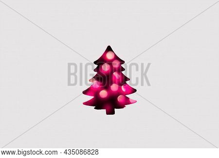 Defocus Abstract Christmas Tree Background. Art Christmas Tree Paper Cutting Design Vintage Card. Ho