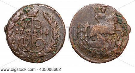 Copper Coin Of The Russian Empire. 1 Kopeck In 1791. Catherine Ii