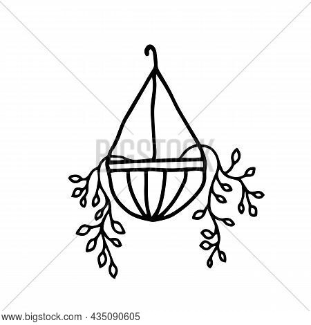 Hanging House Plants And Flowers In Pots. Vector Illustration, Hand Drawn Design Elements. Plants In