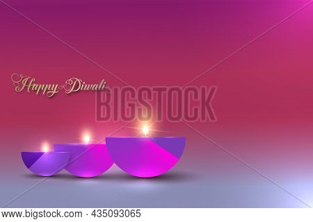Happy Diwali Festival Of Lights India Celebration Colorful Template. Graphic Banner Design Of Indian