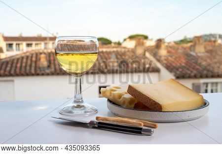 Cheese Collection, Hard French Cheese Comte Made From Cow Milk With Rind In Franche-comte Regio And