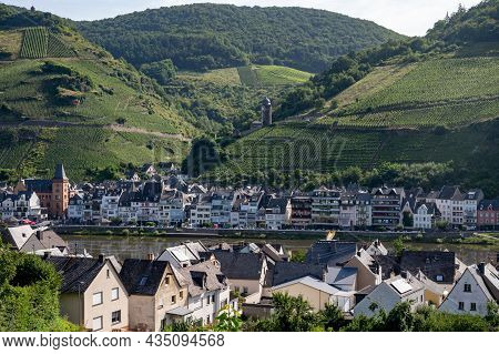 View On Mosel River, Hills With Vineyards And Old Town Zell, Germany, Germany