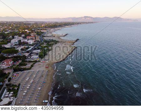 View On Sandy Beaches Of San Felice Circeo, Ancient Italian City In Province Latina On Tyrrhenian Se