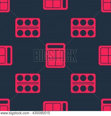 Set Eye Shadow Palette And Eye Shadow Palette On Seamless Pattern. Vector