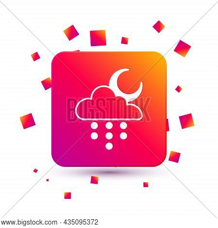 White Cloud With Rain And Moon Icon Isolated On White Background. Rain Cloud Precipitation With Rain
