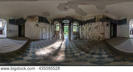 360 Hdri Panorama In Entrance Hall Of Abandoned Empty Concrete Room Or Unfinished Building In Full S