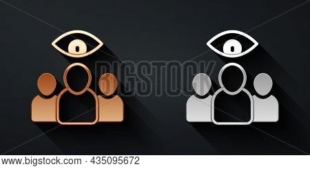 Gold And Silver Spy, Agent Icon Isolated On Black Background. Spying On People. Long Shadow Style. V