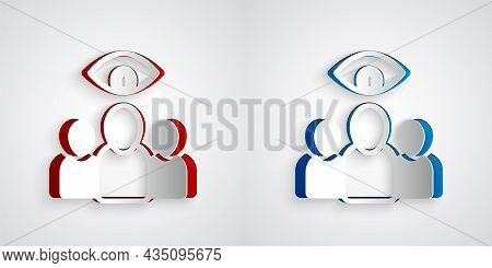 Paper Cut Spy, Agent Icon Isolated On Grey Background. Spying On People. Paper Art Style. Vector