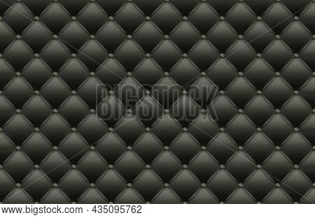 Black Texture Of The Leather Quilted Skin - Background Illustration In Dark Gray Tones With Shadow E