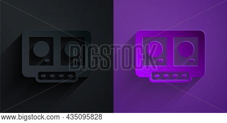 Paper Cut Dj Remote For Playing And Mixing Music Icon Isolated On Black On Purple Background. Dj Mix