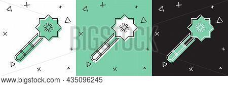 Set Magic Wand Icon Isolated On White And Green, Black Background. Star Shape Magic Accessory. Magic