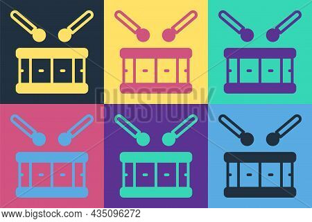 Pop Art Drum With Drum Sticks Icon Isolated On Color Background. Music Sign. Musical Instrument Symb