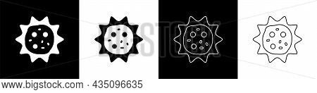 Set Virus Icon Isolated On Black And White Background. Corona Virus 2019-ncov. Bacteria And Germs, C