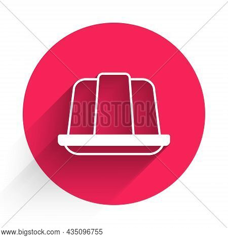White Jelly Cake Icon Isolated With Long Shadow Background. Jelly Pudding. Red Circle Button. Vector