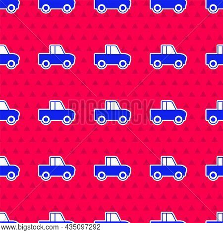 Blue Pickup Truck Icon Isolated Seamless Pattern On Red Background. Vector