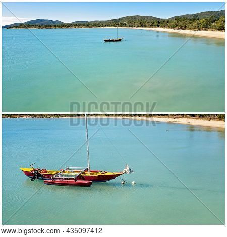 Collage Of Two Images Showing A Colorful Boat Anchored Off Shore From A Tropical Beach