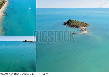 Collage Of An Island Off The Mainland With Yachts Sailing Near The Coastline On A Tropical Summer Da