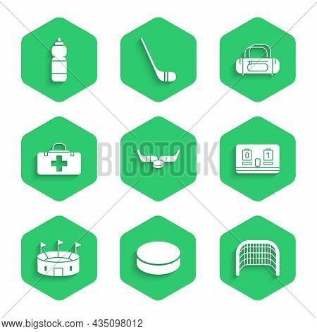 Set Ice Hockey Sticks And Puck, Hockey, Goal, Mechanical Scoreboard, Stadium, First Aid Kit, Sport B