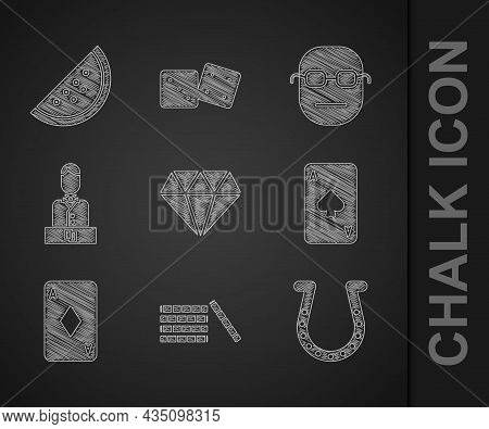 Set Diamond, Casino Chips, Horseshoe, Playing Card With Spades, Diamonds, Dealer, Poker Player And S