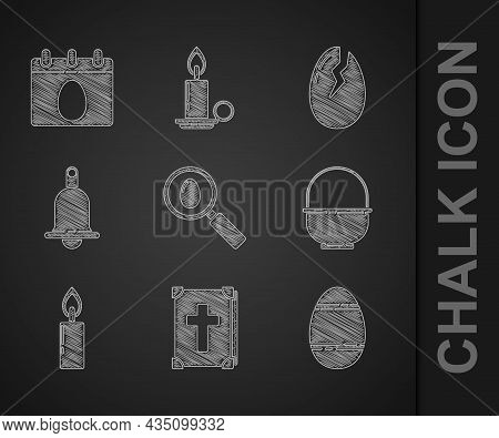Set Search And Easter Egg, Holy Bible Book, Easter, Basket, Burning Candle, Ringing Bell, Broken And