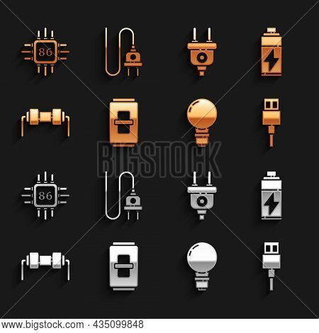 Set Electric Light Switch, Battery, Usb Cable Cord, Light Bulb With Concept Of Idea, Resistor Electr