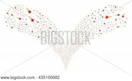 Star Start Twice Fireworks Fountain. Star Start Explosion Twice Fountain. Object Fountain Is Organiz
