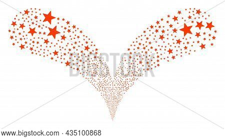 Red Star Twice Fireworks Fountain. Red Star Explosion Double Fountain. Object Fountain Is Organized