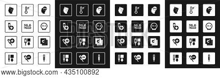 Set High Human Body Temperature, Medical Thermometer, Digital, Meteorology, Celsius And Icon. Vector