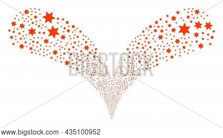 Six Pointed Star Double Fireworks Stream. Six Pointed Star Festive Double Fountain. Object Fountain