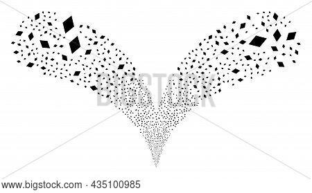 Rhombus Double Fireworks Explosion. Rhombus Explosion Double Fountain. Object Fountain Is Made From