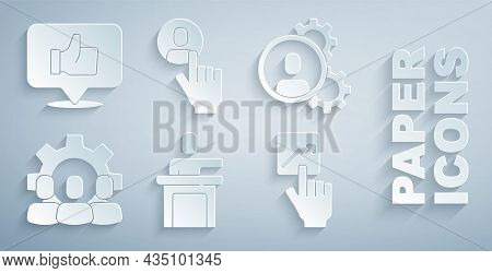 Set Speaker, Head Hunting, Project Team Base, Team Leader, And Hand Like Icon. Vector