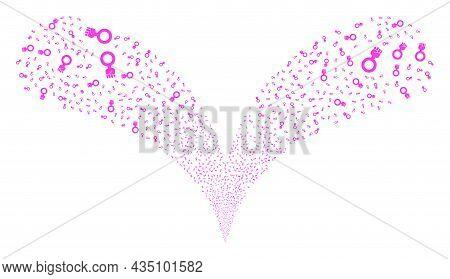 Feminism Symbol Double Fireworks Fountain. Feminism Symbol Fireworks Double Fountain. Object Fountai