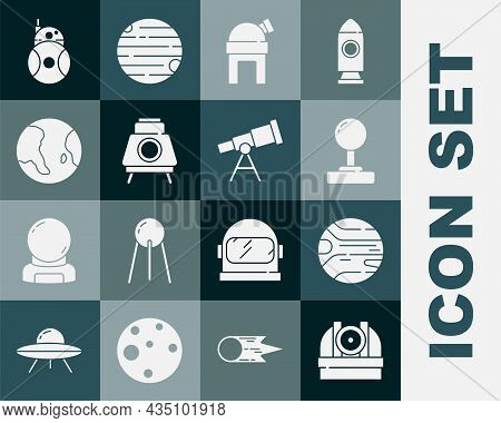 Set Astronomical Observatory, Planet, Joystick, Mars Rover, Earth Globe, Robot And Telescope Icon. V
