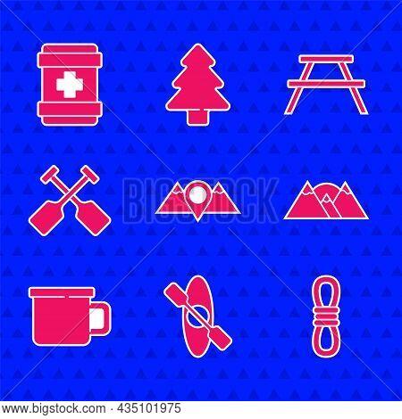 Set Location Mountains, Kayak Or Canoe, Climber Rope, Mountains, Camping Metal Mug, Paddle, Picnic T