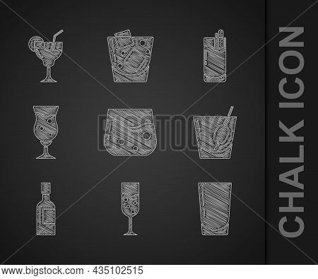 Set Glass Of Whiskey, Champagne, With Water, Cocktail Bloody Mary, Champagne Bottle, Beer, And Icon.