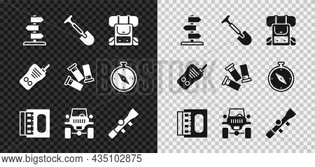 Set Road Traffic Sign, Shovel, Hiking Backpack, Matchbox And Matches, Off Road Car, Sniper Optical S