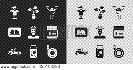 Set Scarecrow, Plant, Smart Farm With Drone, Pickup Truck, Jam Jar, Garden Hose, Chicken Egg And Ico