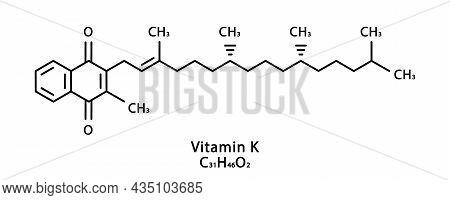 Vitamin K Phylloquinone Molecular Structure. Vitamin K Phylloquinone Skeletal Chemical Formula. Chem