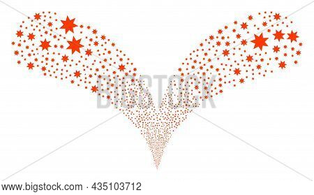 Seven Pointed Star Twice Fireworks Stream. Seven Pointed Star Fireworks Twice Fountain. Object Fount