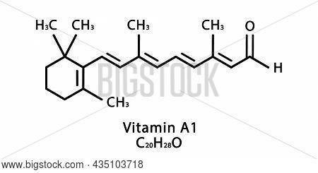 Vitamin A1 Retinal Molecular Structure. Vitamin A1 Retinal Skeletal Chemical Formula. Chemical Molec