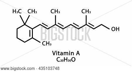 Vitamin A Retinol Molecular Structure. Vitamin A Retinol Skeletal Chemical Formula. Chemical Molecul