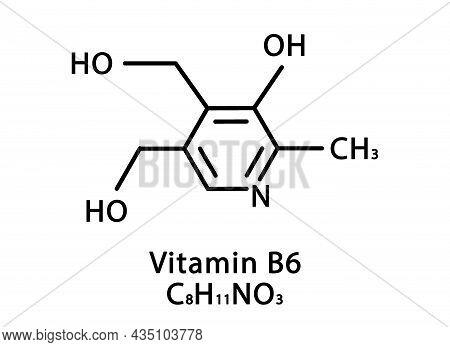 Vitamin B6 Pyridoxine Molecular Structure. Vitamin B6 Pyridoxine Skeletal Chemical Formula. Chemical