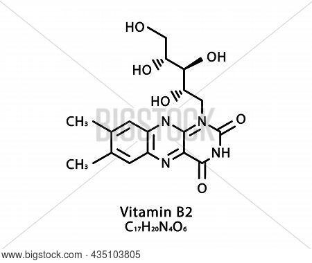 Vitamin B2 Riboflavin Molecular Structure. Vitamin B2 Riboflavin Skeletal Chemical Formula. Chemical
