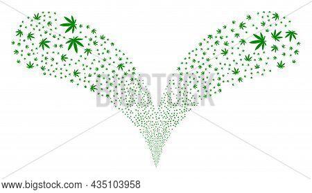 Cannabis Twice Fireworks Salute. Cannabis Stream Twice Fountain. Object Fountain Created From Random