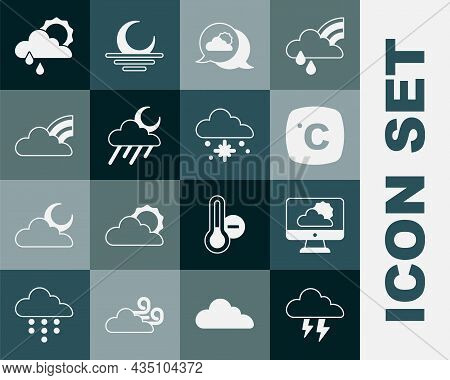 Set Storm, Weather Forecast, Celsius, Location Cloud, Cloud With Rain And Moon, Rainbow Clouds, Sun