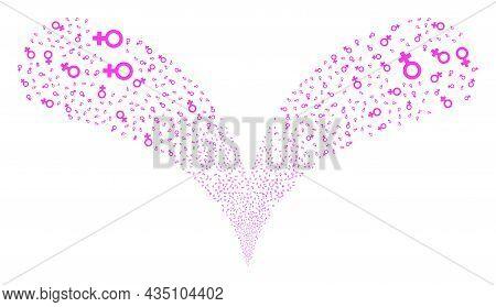 Female Symbol Twice Fireworks Stream. Female Symbol Stream Twice Fountain. Object Fountain Is Done F