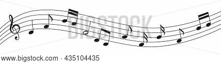 Vector Illustration Of Music Notation. Musical Symbols On The Stave