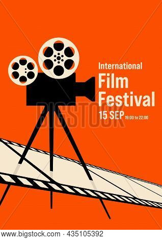 Film Poster Design Template Background With Retro Movie Camera And Filmstrip. Can Be Used For Backdr